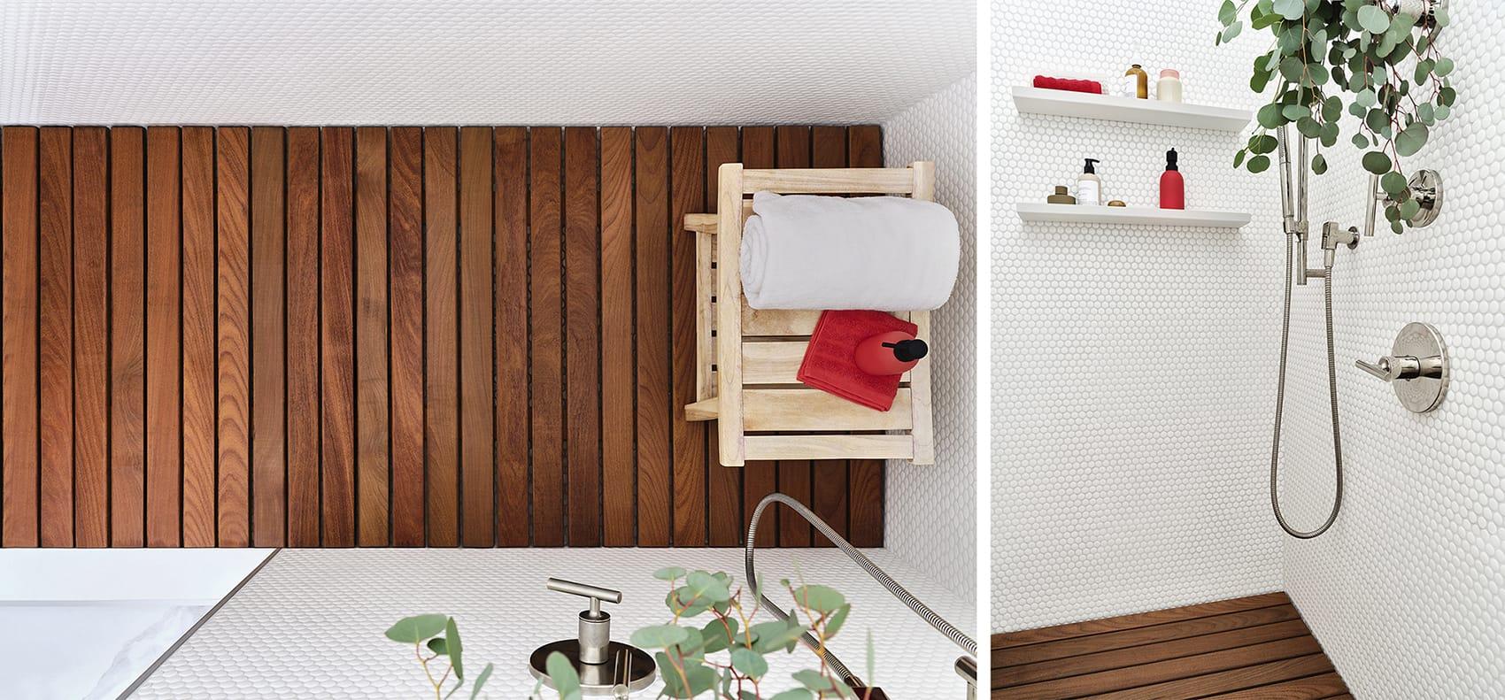 Plancher en bois de salle de bain
